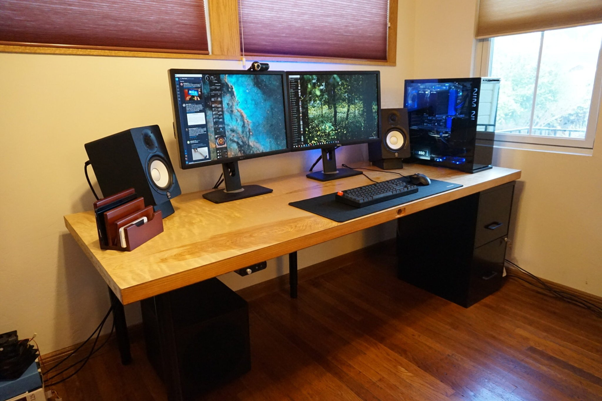 Build your own desk with custom features like USB ports and biometrics