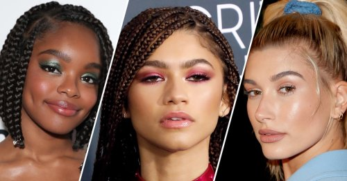 """Graphic Liner, """"Glassy"""" Eyes, Dewy Skin, and More Makeup Trends to Try This Spring"""