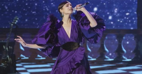 American Idol Becomes a Whole New Stage With Sofia Carson in This Amethyst Ball Gown