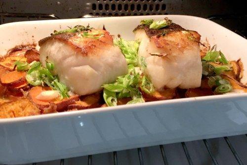 Roast cod, sweet potato and horseradish | Lawrence Murphy