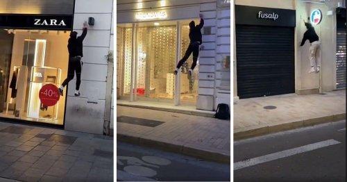 VIDÉO. Parkour : ces traceurs bondissent sur les murs pour éteindre les enseignes et les vitrines