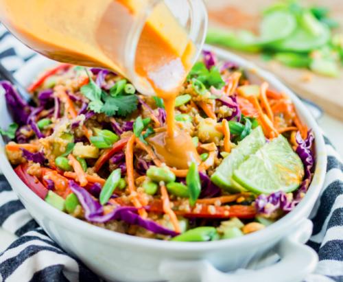 Crunchy Thai-Inspired Quinoa Salad with Peanut Dressing [Vegan]
