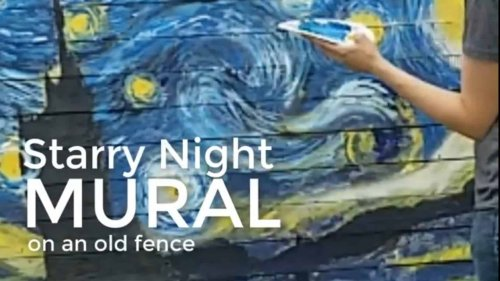 How to paint Van Gogh's Starry Night mural on an old fence (step by step)