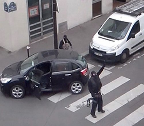 Said and Cherif Kouachi, the gunmen who killed twelve people during their attack on the offices of Charlie Hebdo, are seen in an image from an amateur video shot in Paris January 7, 2015. The Kouachi brothers were the children of Algerian immigrants to Fr
