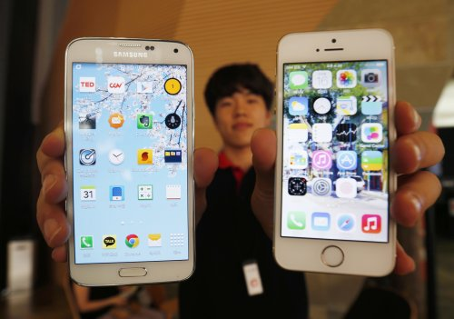 Samsung Electronics' Galaxy 5 smartphone and Apple's iPhone 5
