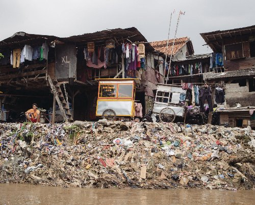 Slums on the Ciliwung river, one of 13 rivers that flow through Jakarta. Hundreds of thousands of riverside residents are preparing to be evicted as Jakarta's government seeks to restore the rivers' banks to help prevent flooding.