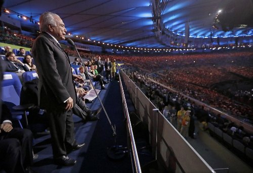 Brazil's acting President Michel Temer opens the 2016 Rio Olympics on Aug. 5.