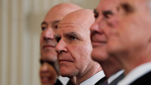 Former National Security Advisor H.R. McMaster listens as he sits between former White House economic advisor Gary Cohn (L), former Secretary of State Rex Tillerson and Vice President Mike Pence (R).