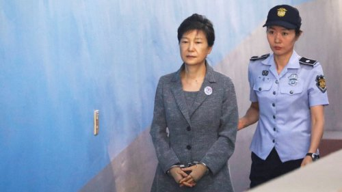 South Korean ousted leader Park Geun-hye arrives at a court in Seoul, South Korea.