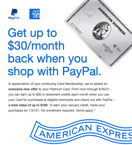 Amex Platinum $30 PayPal Monthly Credits (Jan 1, 2021, to Jun 30, 2021)