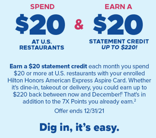 Amex Hilton – $20 off $20 on U.S. Dining up to $220