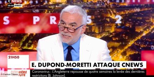 """""""Je suis un petit peu fâché"""" : Pascal Praud réagit aux propos d'Éric Dupond-Moretti, qui considère que CNews est """"la chaîne de Marine Le Pen"""" (VIDEO)"""