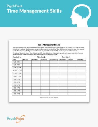Time Management Skills Worksheet