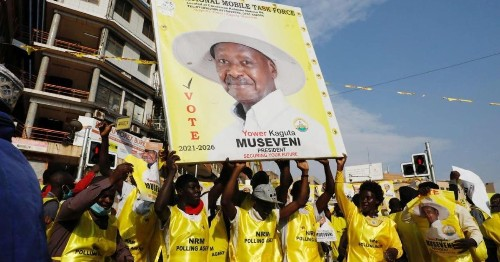 Uganda's president has been declared winner of the election amid fraud allegations