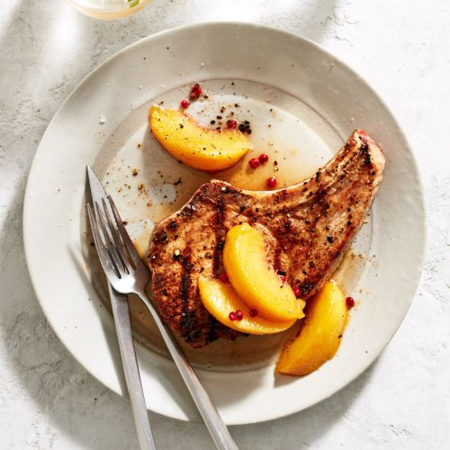 Grilled Pork Chops with Sweet & Sour Pickled Peaches
