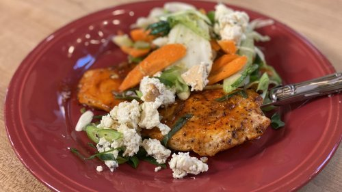 How To Make Buffalo Chicken Paillard With Slaw, Blue Cheese + Scallions | Rachael Ray