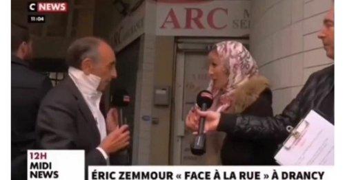 Eric Zemmour échange avec une femme voilée à Drancy : «Enlevez-le (le foulard)»