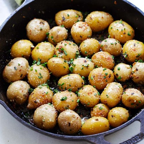 Garlic Chive Butter Roasted Potatoes