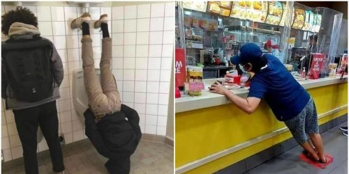 17 funny pictures of people who were photographed while standing strangely in public