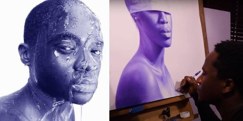 Self-taught artist makes hyperrealistic portraits with just a basic Bic ballpoint pen