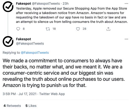 Apple bans, at Amazon's request, app that reveals fake Amazon reviews