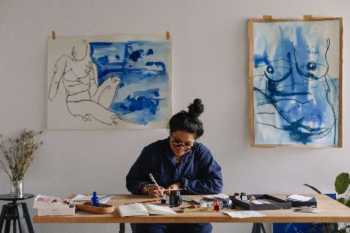The Body in Blue: London Artist Laxmi Hussain's Home and Studio Showcase Her Figural Paintings
