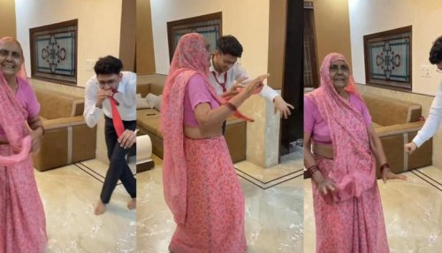 Video of 'dadi & grandson' dancing on peppy Bollywood song takes internet by storm; Watch