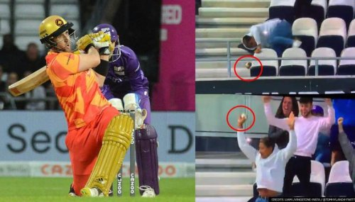 Fan trips over chair while taking Liam Livingstone's catch in The Hundred, clings on to it