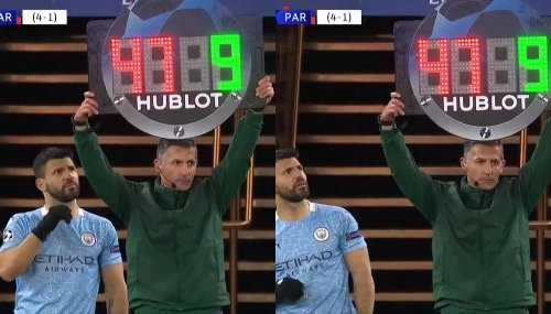 Aguero comical moment while coming on as sub during Man City vs PSG leaves fans in splits