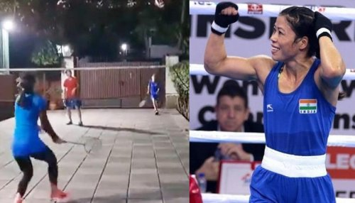 MC Mary Kom shows off racket skills while playing badminton with her sons; Watch