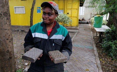 Kenyan recycles plastic waste into bricks stronger than concrete