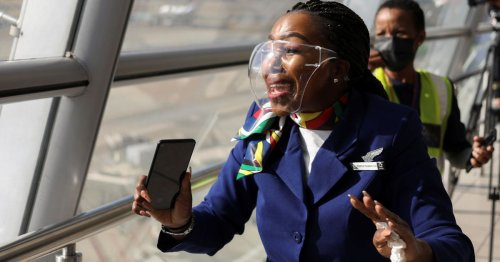 Singing and dancing as South Africa's national airline returns to the skies
