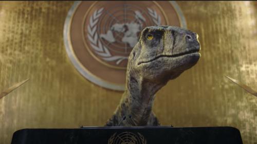 Un dinosaure à la tribune de l'ONU pour exhorter le monde à «ne pas choisir l'extinction»