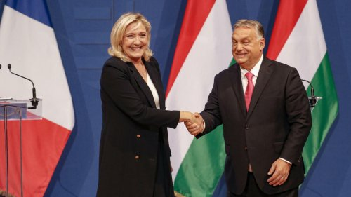 Hungary's Victor Orban gives red carpet welcome to France's Marine Le Pen