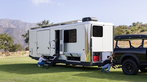 Living Vehicle's Luxe New Travel Trailer Can Charge Your EV—and Then Get Towed by It