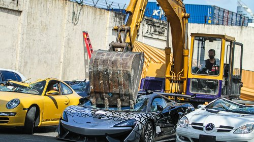 The Philippines Just Crushed $1.2 Million in Smuggled Luxury Cars, Including a McLaren 620R