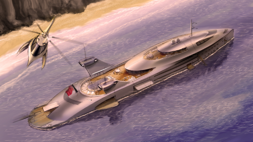 Boat of the Week: This Wild 427-Foot Superyacht Concept Uses Recycled Jumbo-Jet Engines for Power