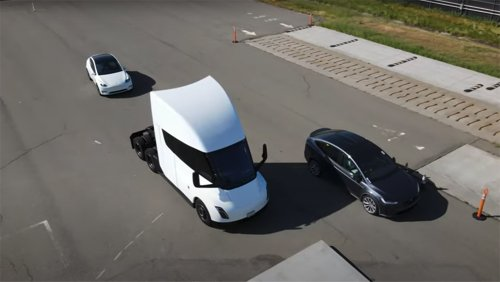 Watch: Did This Drone Just Capture Tesla Testing Its Semi and Model X Plaid at the Factory?