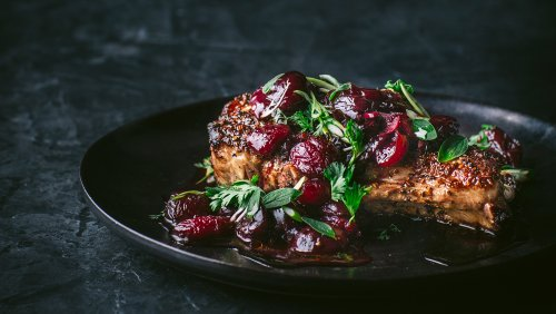 Chef Gregory Gourdet Shows How to Make Spice-Crusted Pork Chops With Cherries