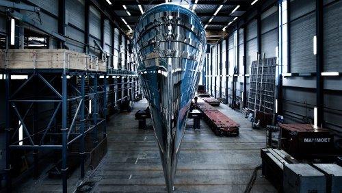 Royal Huisman's New Blue 192-Foot Superyacht 'Phi' Hits the Water