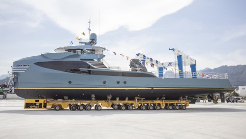 This Sleek 118-Foot Support Vessel Has 30-Foot Crane Capable of Lifting 6-Ton Toys