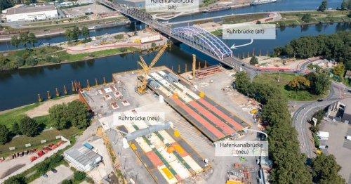 Hafenkanalbrücke bereits in voller Länge vor Ort: 5000 Tonnen Stahl für den Karl-Lehr-Brückenzug