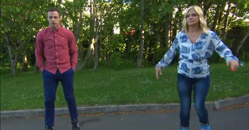 Ireland AM's Karen Koster and Tommy Bowe in stitches as they take a tumble on TV
