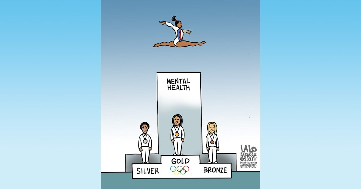 Cartoon praises Simone Biles for putting her mental health first