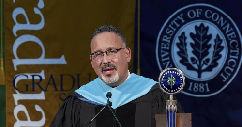 Education Secretary Cardona encourages college grads, talks about his upbringing