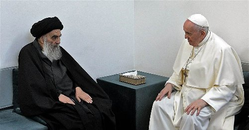 Pope Francis holds historic meeting with Shiite cleric in Iraq, visits birthplace of Abraham