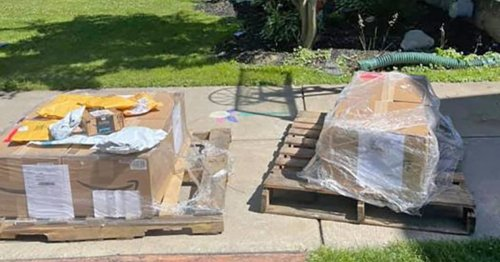 Hundreds of Amazon packages arrive at woman's doorstep, but she never ordered them