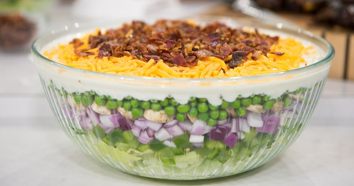 This colorful, layered, make-ahead salad is perfect for parties