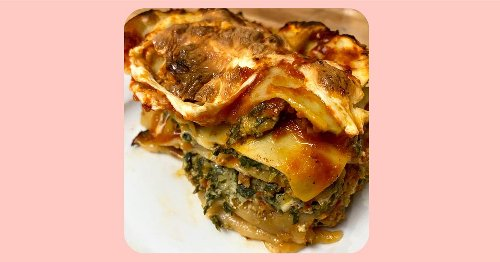 Adam Richman makes his mom's spinach pie and turns the leftovers into lasagna