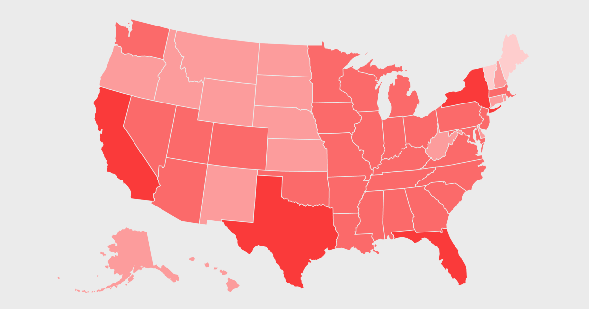 Coronavirus in the U.S.: Map of how many cases have been confirmed across the country, by state